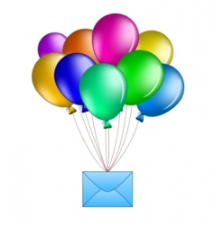 balloons with mail vector image vector image