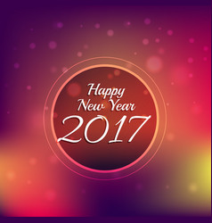 colorful bokeh background with 2017 new year text vector image vector image