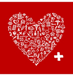 Heart shape with medical icons for your design vector image
