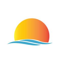 sunrise beach logo vector image