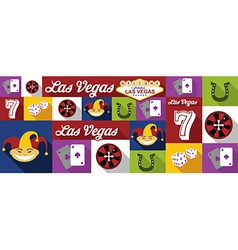 Travel and tourism icons las vegas vector