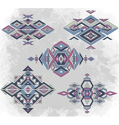 Tribal element patterns on grunge background vector image vector image