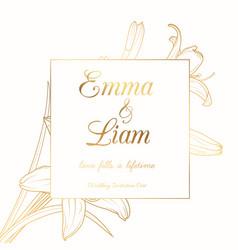 wedding invitation lily lilium flower frame golden vector image vector image