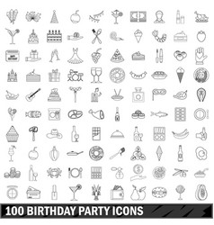 100 birthday party icons set outline style vector image