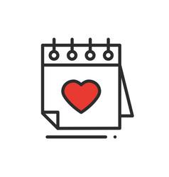 calendar line icon reminder happy valentine day vector image
