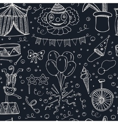 Hand drawn sketch circus seamless pattern vector