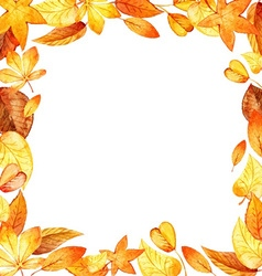 watercolor leaves square frame vector image vector image