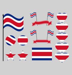 costa rica flag set symbols flag in heart vector image