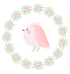cute kawaii spring bird and feathers wreath vector image vector image