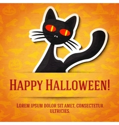 Happy halloween greeting card with black cat vector image