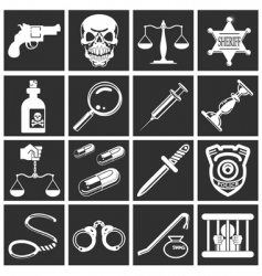 Police and crime icons vector