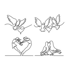 set continuous flying two pigeons with heart logo vector image vector image