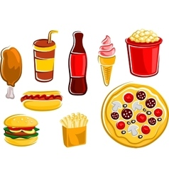 Cartoon fast food drinks and snacks vector image vector image