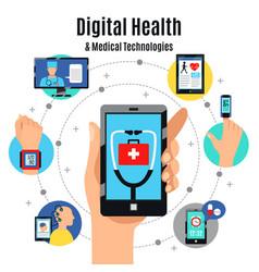 digital health technologies flat composition vector image vector image