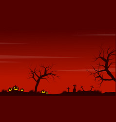 halloween scenery pumpkin grave background vector image