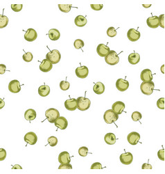 hand drawn green apple pattern vector image vector image