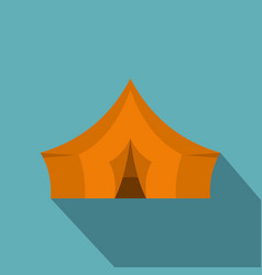 orange tent for forest camping icon flat style vector image