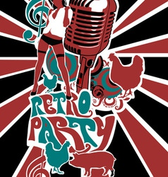 retro party background vector image vector image