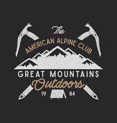 vintage alpine badge climbing logo vintage vector image