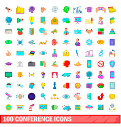 100 conference icons set cartoon style vector image