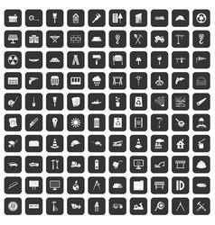 100 construction site icons set black vector
