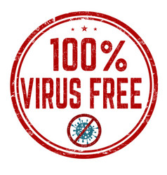 100 virus free sign or stamp vector image