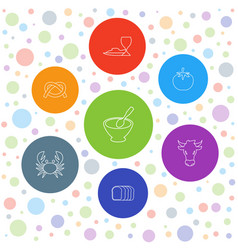 7 eat icons vector image