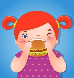 A fat girl eating a hamburger vector image