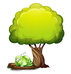 A green three-eyed monster sleeping soundly under vector image