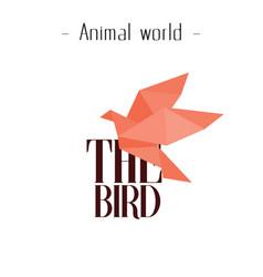animal world the bird orange paper bird background vector image