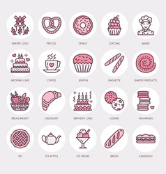 bakery confectionery line icons sweet shop vector image