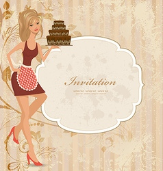 beautiful young woman with chocolate cake vector image