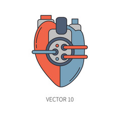 Bionic heart prosthesis color line icon bionic vector