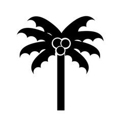 black icon beach palm cartoon vector image