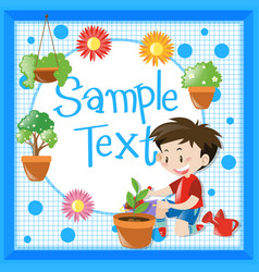 border design with boy planting tree vector image