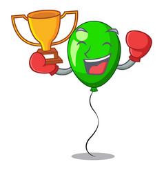 boxing winner green balloon on character plastic vector image