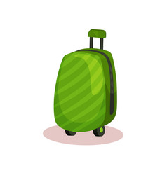 bright green travel bag with retractable handle vector image