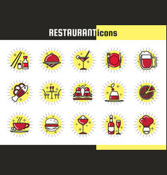 bright restaurant icons vector image