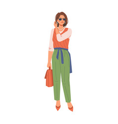 Brunette woman in trendy fashion cloth high heels vector