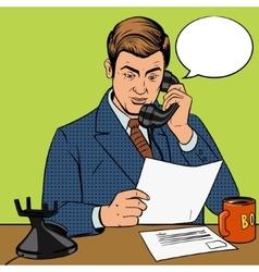 Businessman talking on phone vector