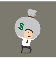 Businessman with money bag cartoon character vector image