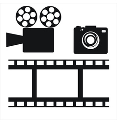 camera and film strip vector image vector image