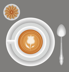 Cappuccino coffee cup plate spoon and biscuit vector