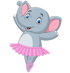 cartoon elephant ballet dancer on white background vector image
