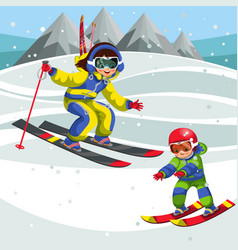 Cartoon instructor showing little child how to ski vector