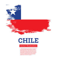 chile flag with brush strokes independence day vector image