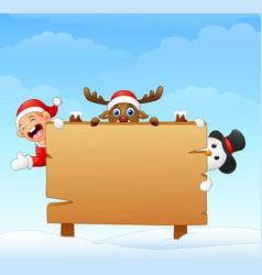 christmas elf and snowman and reindeer with blank vector image