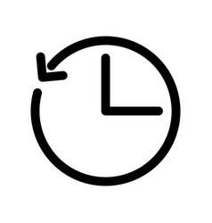 Clock icon with arrow as a time shift outline vector