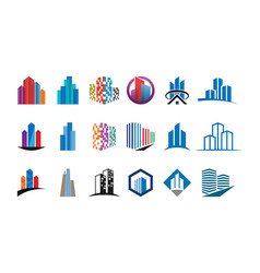 collection of colorful building logo design vector image