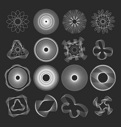 collection round decorative frames and geometric vector image